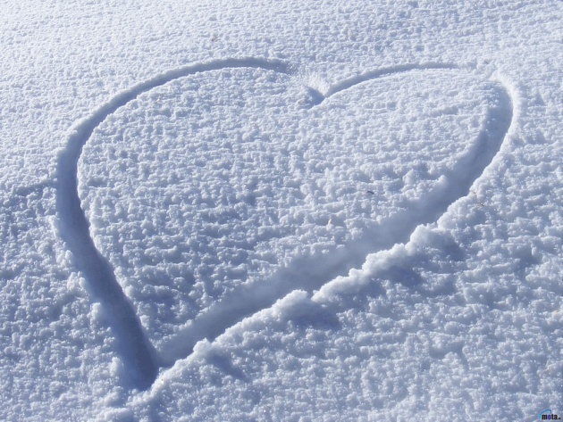 Wallpaper Heart on snow