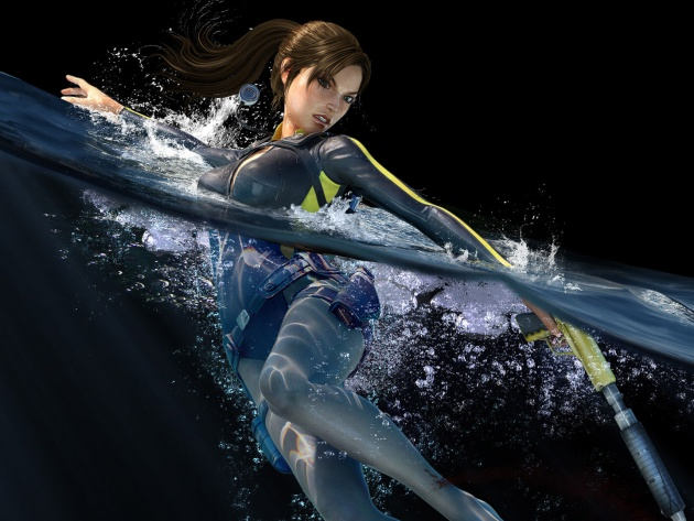 Wallpaper Lara Croft in water (Tomb Raider: Underworld)