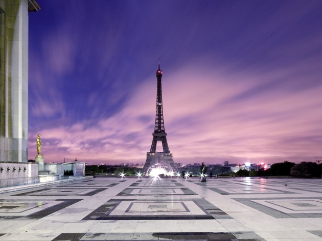Wallpaper The Eiffel Tower and the evening sky, Paris, France