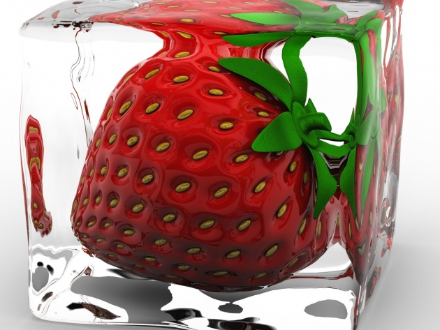 Wallpaper Strawberry in ice