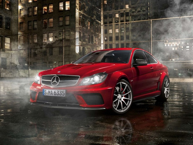Wallpaper Red Mercedes-Benz C63 AMG Coupe - Photo ...