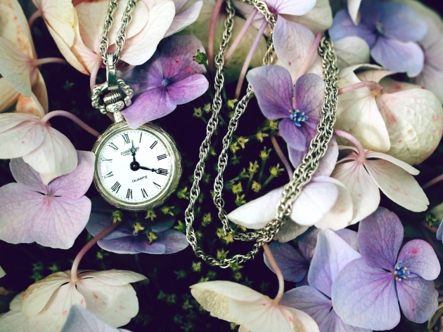 Wallpaper Pocket watch in a lilac flowers