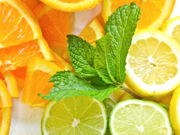 Wallpaper Citrus and mint