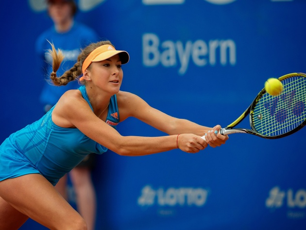 Wallpaper Belinda Bencic with racket and ball