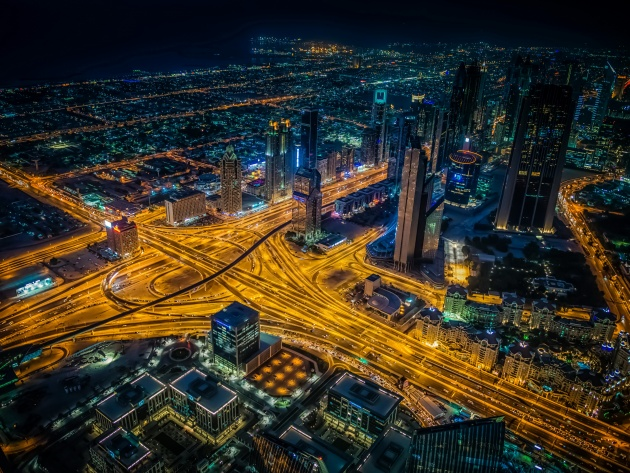 Wallpaper Road junction and night skyscrapers in Dubai, UAE