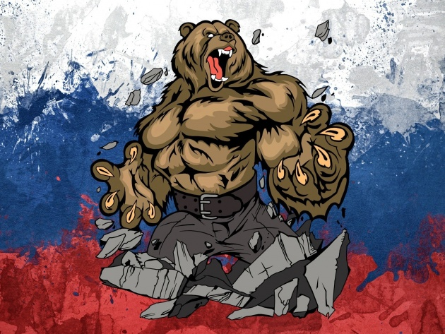 Wallpaper Bear and Russian flag
