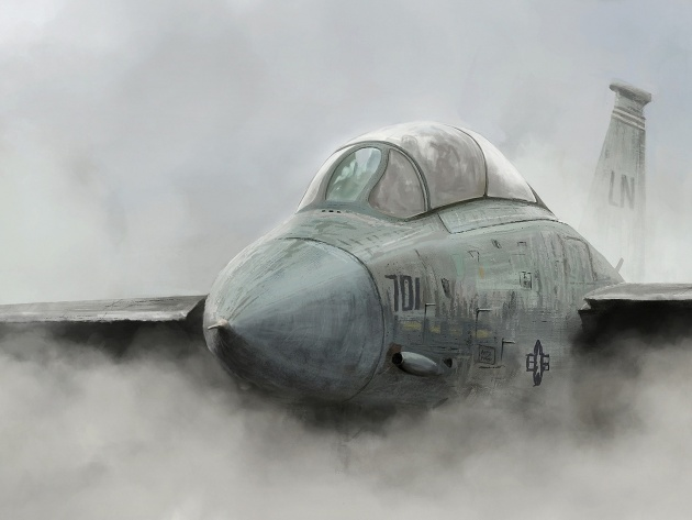 Wallpaper Military aircraft in the fog