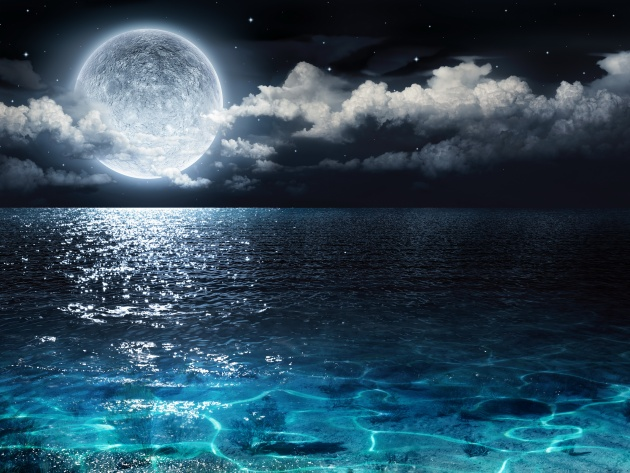 Wallpaper Moon over the ocean at night