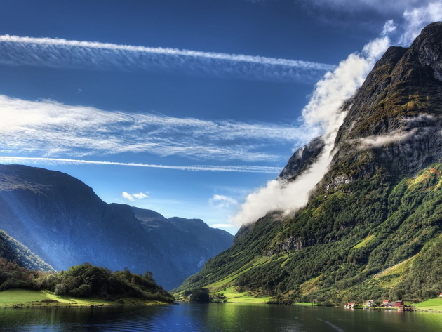 Wallpaper Mountains Fjord Norway Clouds Flåm Sognefjord The