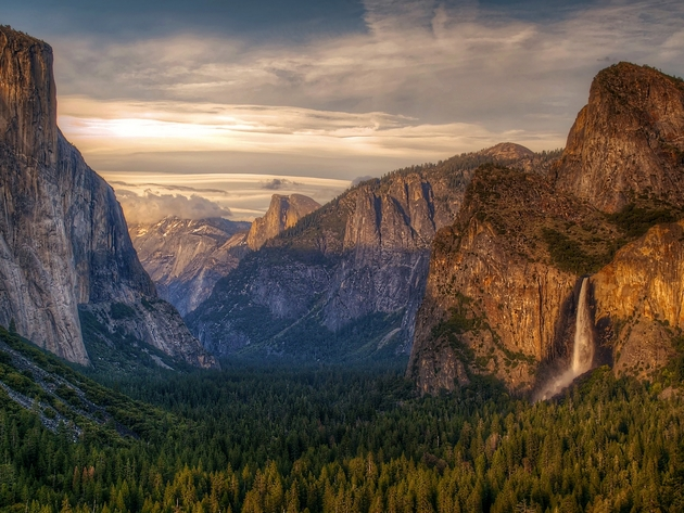 Wallpaper waterfall, forest, usa, mountains, california, yosemite, yosemite valley