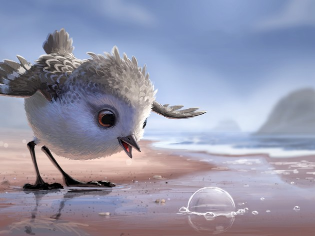 Wallpaper beach, sea, sand, bird, cartoon, chick, piper