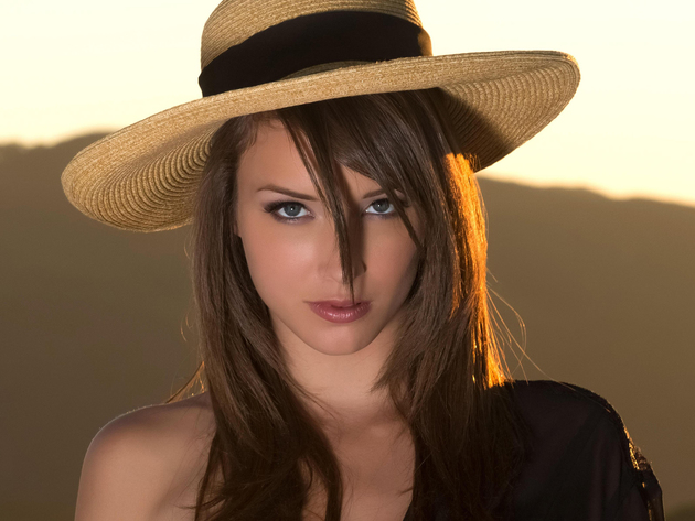 Wallpaper brunette, face, girl, hat, malena morgan, portrait