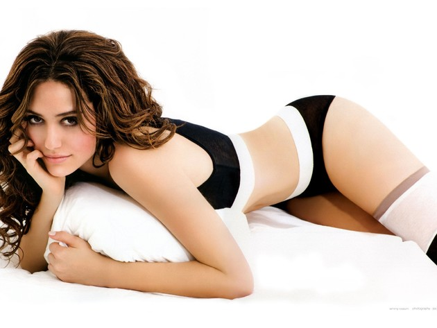 Wallpaper actress, brunette, stockings, girl, underwear, emmy rossum