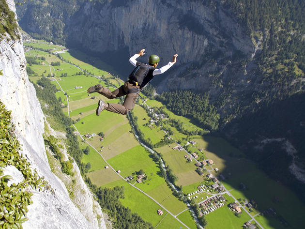Wallpaper mountains, flight, valley, extreme, base jumping
