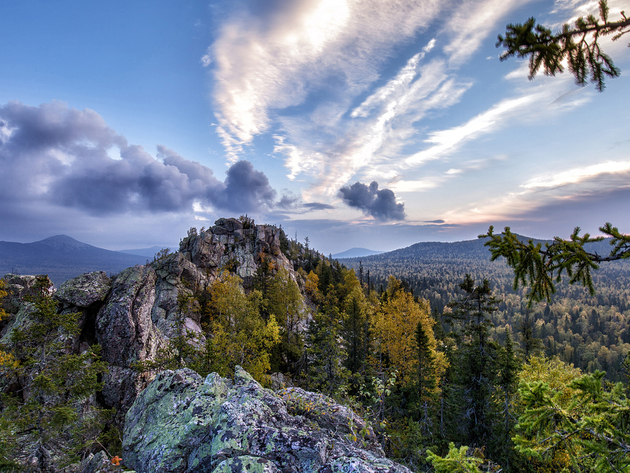 Wallpaper forest, mountains, russia, ridge, ural, taganay, big taganay