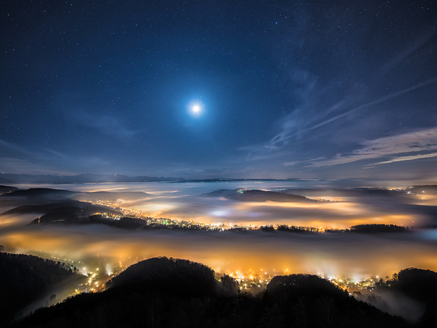 Wallpaper moon, mountains, fog, night, switzerland, uetliberg