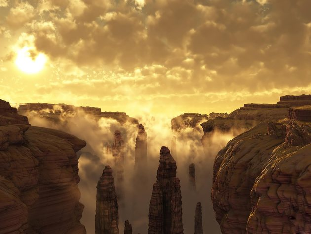 Wallpaper mountains, fog, clouds, canyon, graphics, 3d