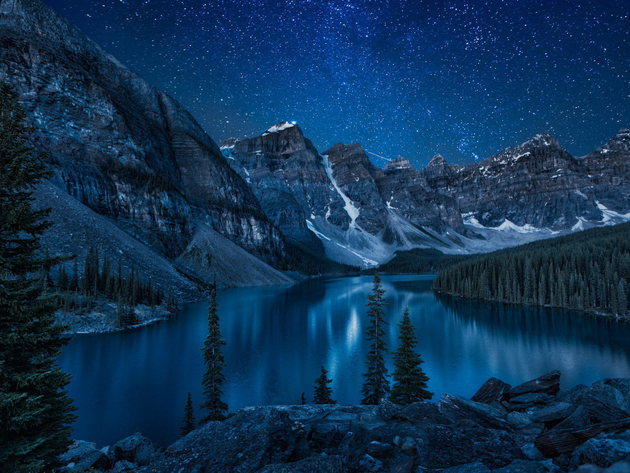 Wallpaper lake, canada, mountains, stars, night, alberta, banff, moraine, moraine lake