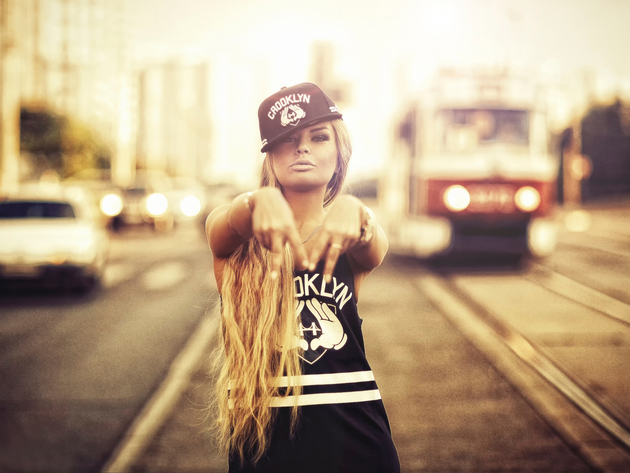 Wallpaper blonde, girl, cap, tram, tatra t3