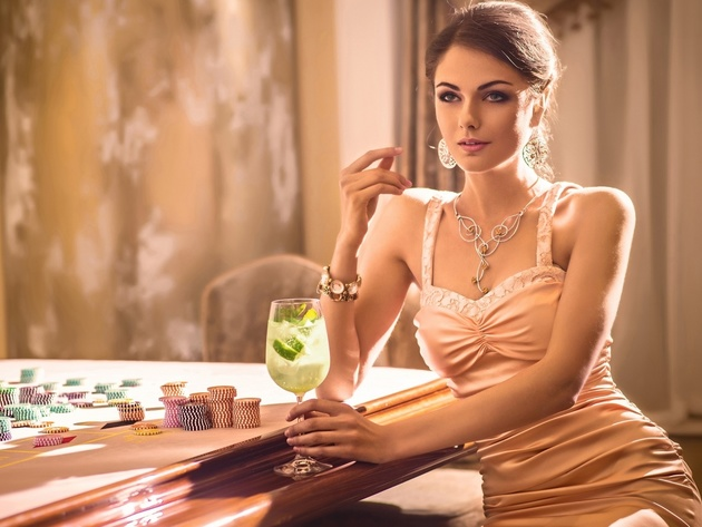 Wallpaper model, brunette, glass, girl, dress, casino