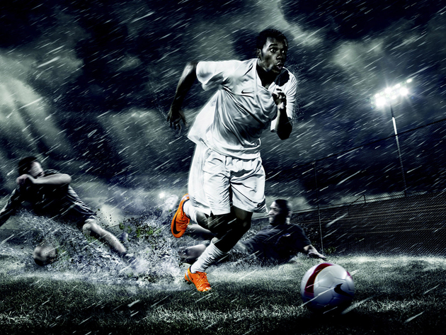 Wallpaper rain, football, night, stadium, player, robinho