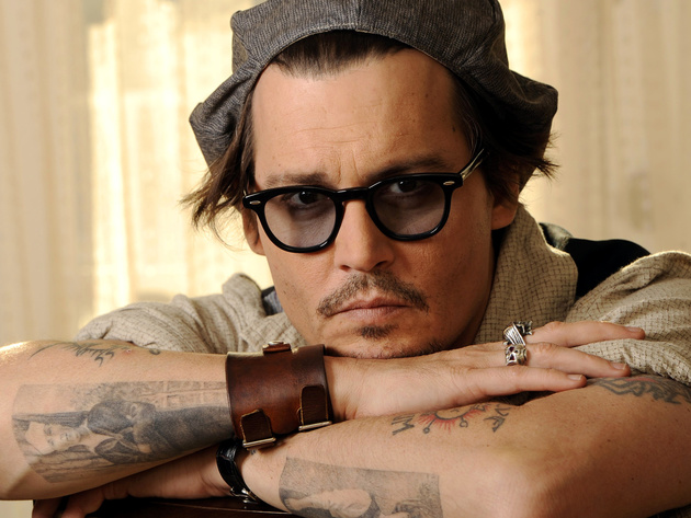 Wallpaper actor, johnny depp, tattoo, glasses, mustache, male