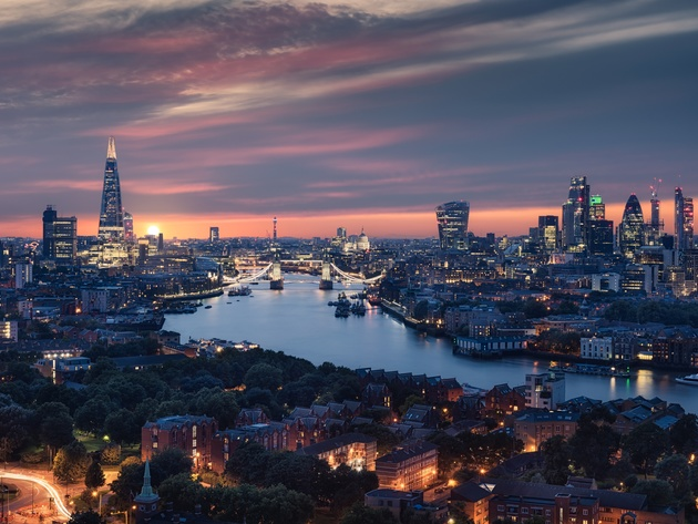Wallpaper river, london, evening, uk, england, thames, city