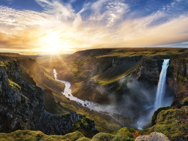 Wallpaper sunset, waterfall, river, sun, iceland, habits