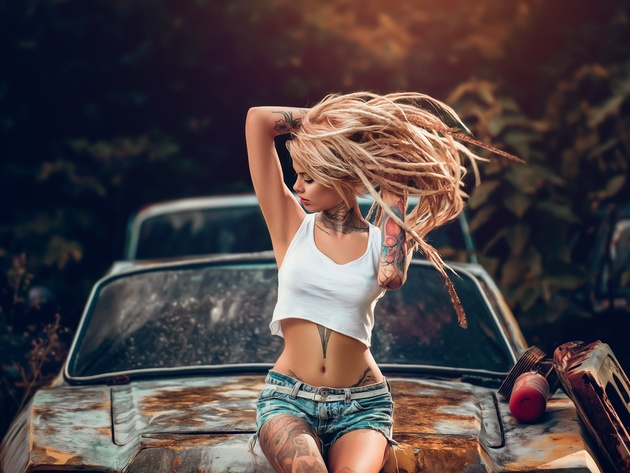 Wallpaper girl, tattoo, car, tank-top, denim shorts, dreadlocks