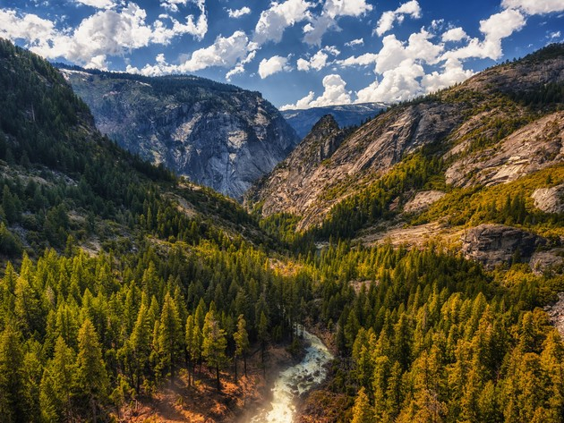 Wallpaper forest, river, mountains, yosemite, yosemite national park, river column, column