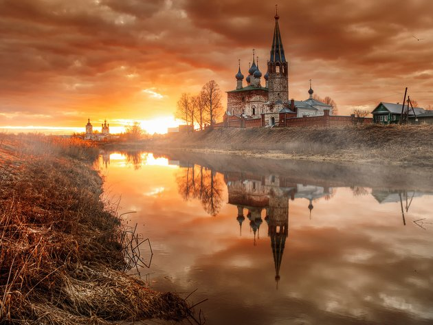 Wallpaper sunset, river, dawn, reflection, church, frost, russia, dunilovo, ivanovo oblast, church of the assumption of the blessed virgin mary holy dormition convent, annunciation convent
