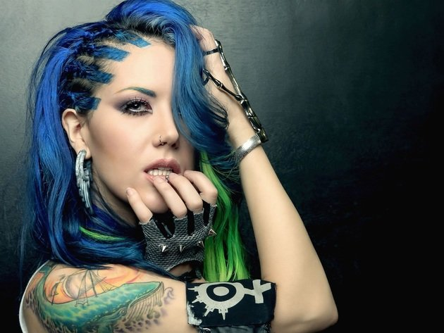 Wallpaper singer, celebrity, face, girl, tattoo, eyes, earrings, portrait, blue hair, alissa white-gluz, singer