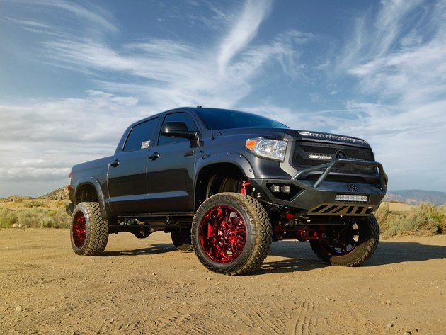 Wallpaper toyota, tuning, toyota tundra, pickup, sky, black machine