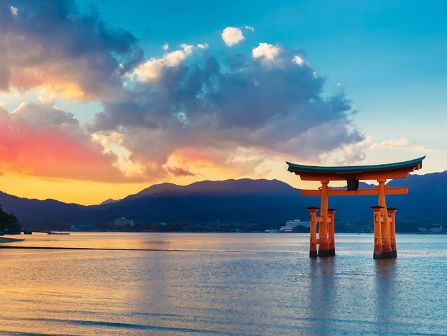 Wallpaper sunset, sea, clouds, japan, itsukushima, hiroshima, itsukushima shrine, miyajima