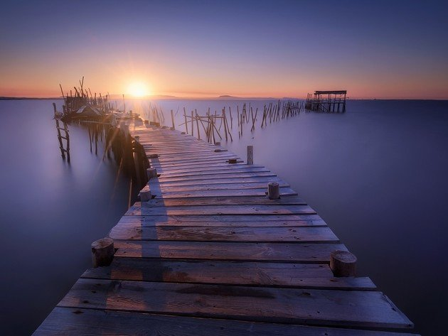 Wallpaper lake, dawn, dock, surface