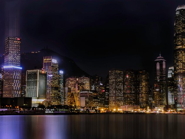 Wallpaper skyscrapers, hong kong, night, china