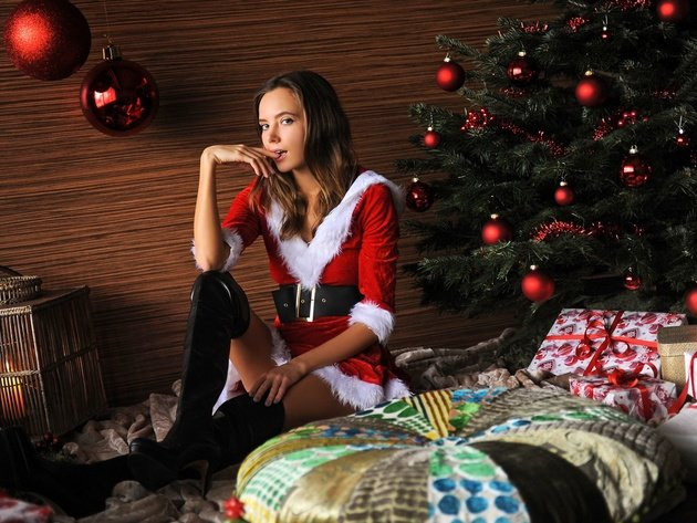 Wallpaper girl, new year, christmas tree, maiden, katya clover, ekaterina skaredina