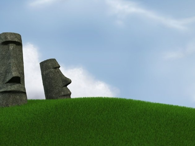 Wallpaper minimalism, grass, easter island, moai, idol, graphics