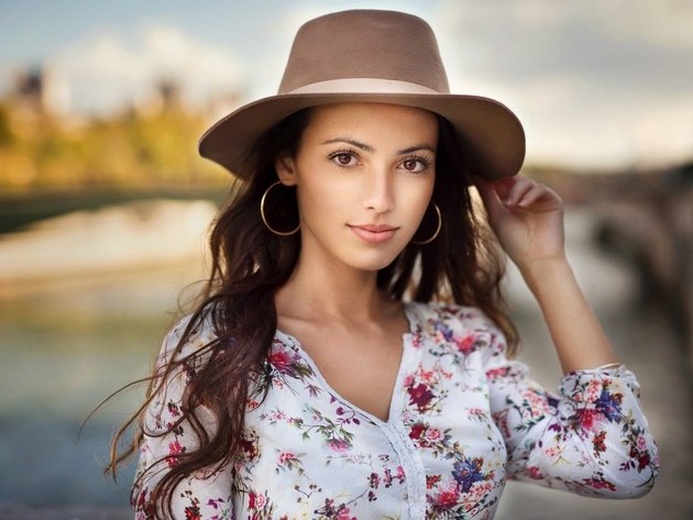 Wallpaper brunette, girl, hat, blouse