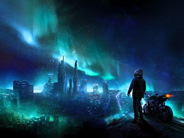 Wallpaper northern lights, night, motorcycle, helmet, people, the city of the future