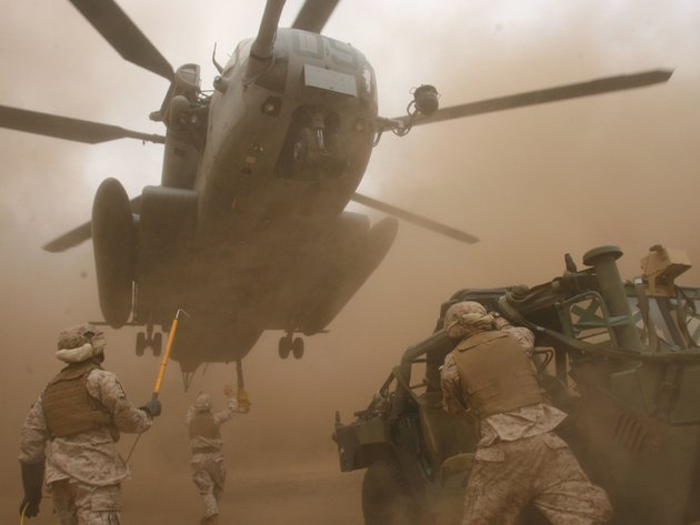 Wallpaper helicopter, soldiers, sikorsky, ch-53, sea stallion, dust, military helicopter