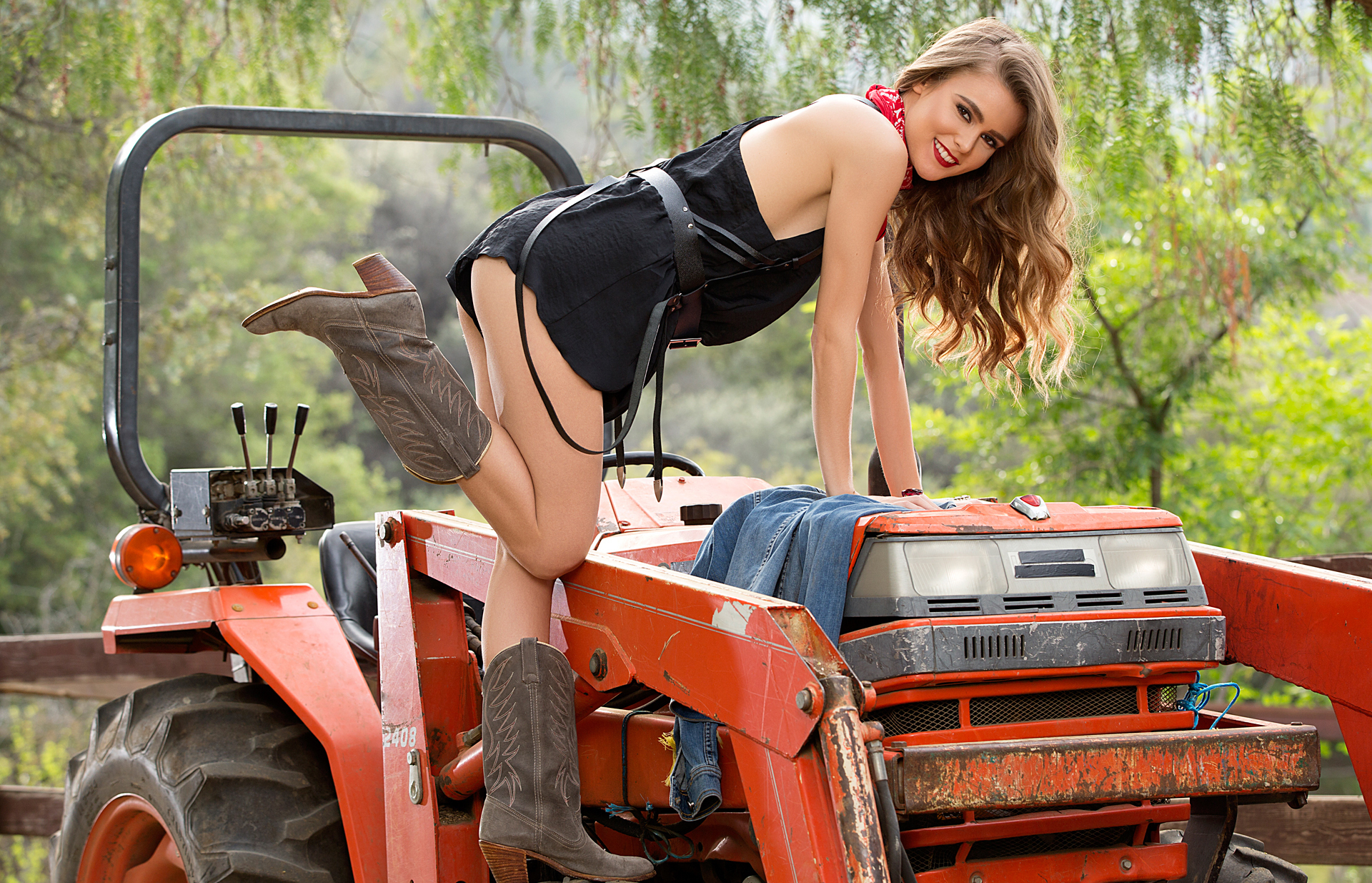 Sexy girls on tractors