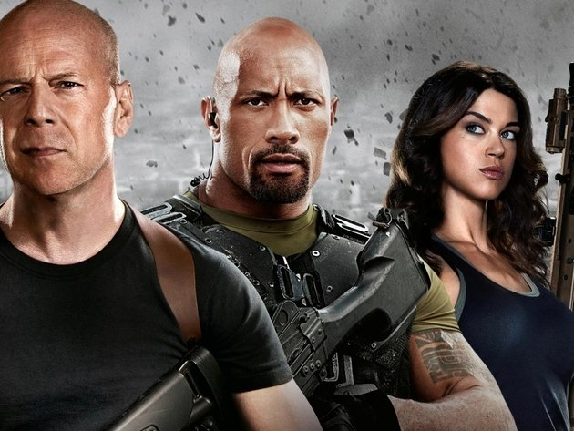 Wallpaper actress, weapons, actor, girl, rifle, bruce willis, dwayne johnson, adrianne palicki, g.i. joe: retaliation