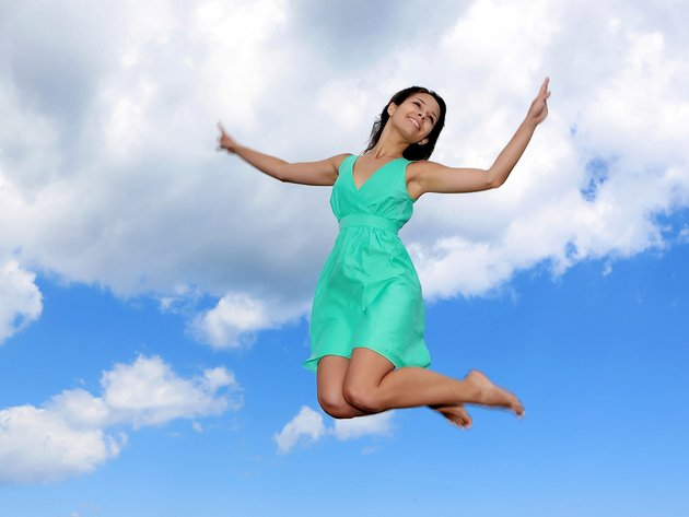 Wallpaper girl, dress, smile, sky, jump