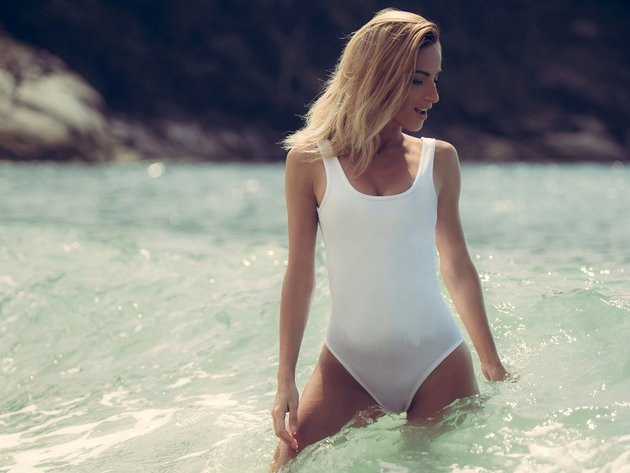 Wallpaper sea, blonde, swimsuit, girl, wet