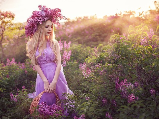 Wallpaper flowers, dress, lilac, wreath, pink dress