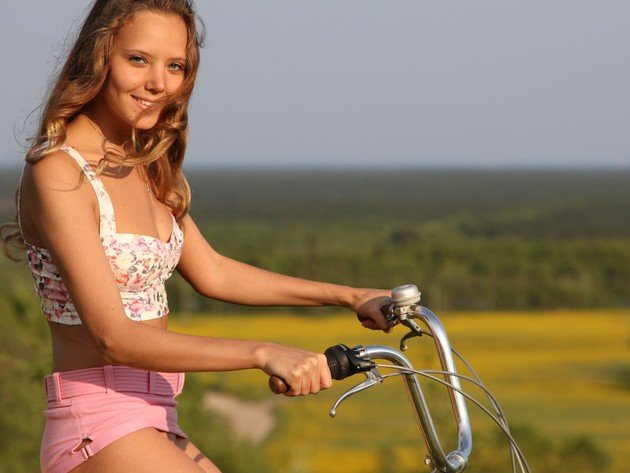 Wallpaper brunette, shorts, bike, girl, smile, tank-top, mango a, katya clover