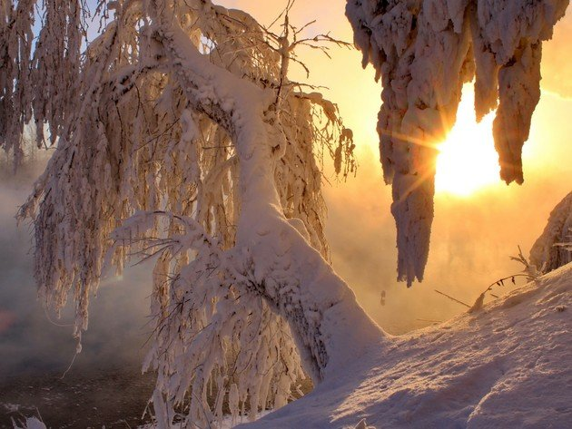 Wallpapers sonnenuntergang, schnee, winter, sonne