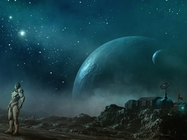 Wallpaper space, planet, art, stars, astronaut, graphics