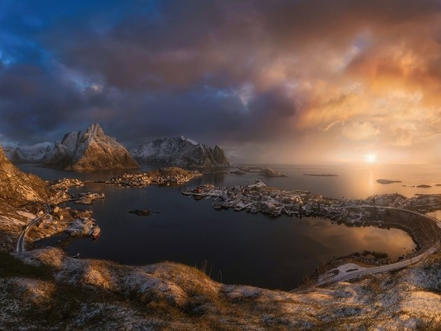 Wallpaper sea, snow, norway, clouds, the lofoten islands